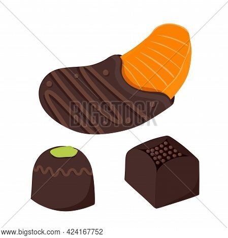 Chocolate-covered Tangerine Fresh Fruit Dipped In Thick Chocolate Bars. A Set Of Chocolates. Vector
