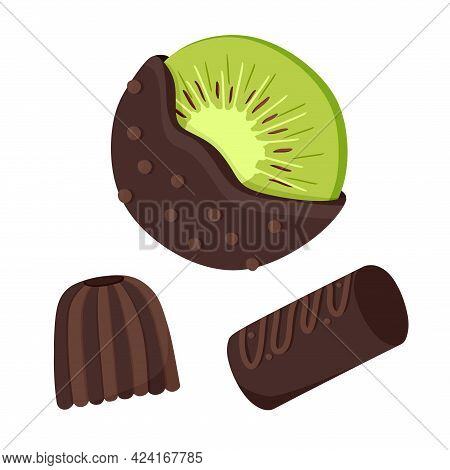 Chocolate-covered Kiwi Fruit Fresh Fruit Dipped In Thick Chocolate Candy Bars. A Set Of Chocolates.