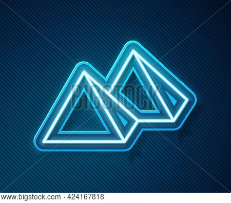 Glowing Neon Line Egypt Pyramids Icon Isolated On Blue Background. Symbol Of Ancient Egypt. Vector
