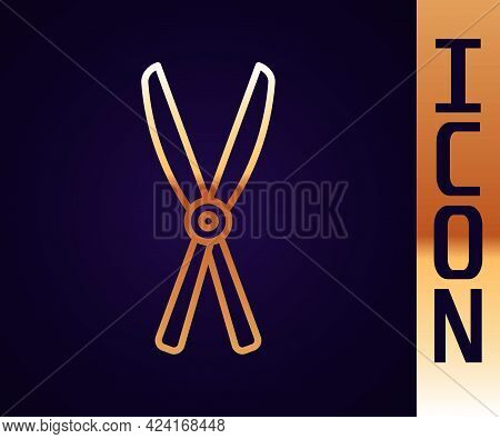 Gold Line Gardening Handmade Scissors For Trimming Icon Isolated On Black Background. Pruning Shears