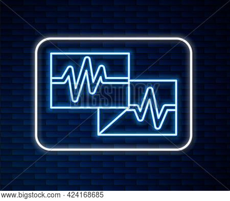 Glowing Neon Line Computer Monitor With Cardiogram Icon Isolated On Brick Wall Background. Monitorin