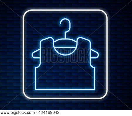 Glowing Neon Line Sleeveless T-shirt Icon Isolated On Brick Wall Background. Vector