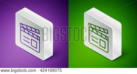 Isometric Line Movie Clapper Icon Isolated On Purple And Green Background. Film Clapper Board. Clapp