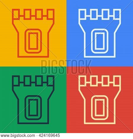 Pop Art Line Castle Tower Icon Isolated On Color Background. Fortress Sign. Vector