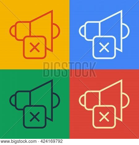 Pop Art Line Speaker Mute Icon Isolated On Color Background. No Sound Icon. Volume Off Symbol. Vecto