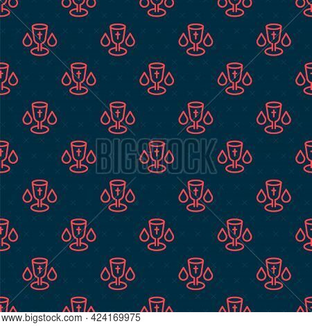 Red Line Christian Chalice Icon Isolated Seamless Pattern On Black Background. Christianity Icon. Ha