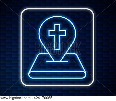 Glowing Neon Line Map Pin Church Building Icon Isolated On Brick Wall Background. Christian Church.