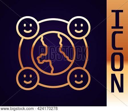 Gold Line International Community Icon Isolated On Black Background. Worldwide Community. Cross Cult