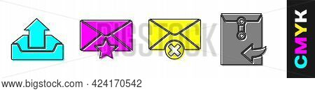 Set Upload Inbox, Envelope With Star, Delete Envelope And Envelope Icon. Vector
