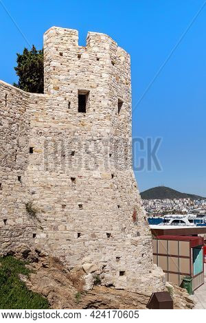 Kusadasi, Turkey - June 2, 2021: This Is One Of The Towers To The Ottoman Guvercinada Fortress (15th