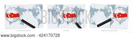 Blue Abstract World Maps With Magnifying Glass On Map Of Turkey With The National Flag Of Turkey. Th