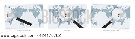Blue Abstract World Maps With Magnifying Glass On Map Of Portugal With The National Flag Of Portugal
