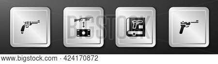 Set Revolver Gun, Buying Assault Rifle, Book With Pistol Or And Mauser Icon. Silver Square Button. V
