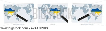 Blue Abstract World Maps With Magnifying Glass On Map Of Ukraine With The National Flag Of Ukraine.