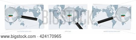 Blue Abstract World Maps With Magnifying Glass On Map Of Bulgaria With The National Flag Of Bulgaria