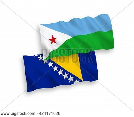 National Fabric Wave Flags Of Republic Of Djibouti And Bosnia And Herzegovina Isolated On White Back
