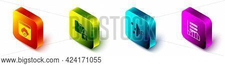 Set Isometric Failed Access Cloud Storage, Folder And Lock, Filter Setting And Server, Data, Web Hos