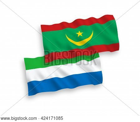National Fabric Wave Flags Of Islamic Republic Of Mauritania And Sierra Leone Isolated On White Back