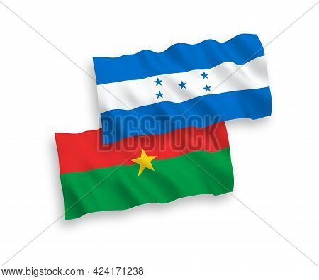National Fabric Wave Flags Of Burkina Faso And Honduras Isolated On White Background. 1 To 2 Proport