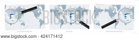 Blue Abstract World Maps With Magnifying Glass On Map Of Greece With The National Flag Of Greece. Th