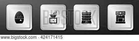 Set Kitchen Timer, Manual Coffee Grinder, Slow Cooker And Coffee Machine Icon. Silver Square Button.