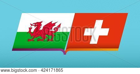 Football Icon Of Wales Versus Switzerland In Football Competition. Vector Icon.