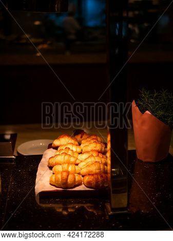 Fresh Baked Golden Croissantson The Table
