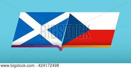 Football Icon Of Scotland Versus Czech Republic In Football Competition. Vector Icon.