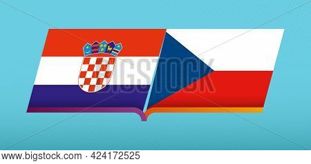 Football Icon Of Croatia Versus Czech Republic In Football Competition. Vector Icon.