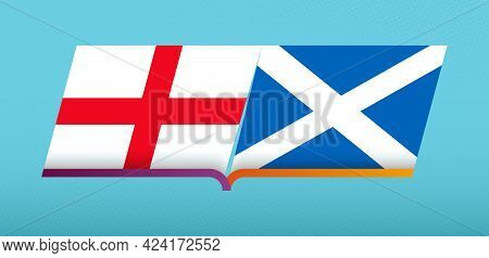 Football Icon Of England Versus Scotland In Football Competition. Vector Icon.