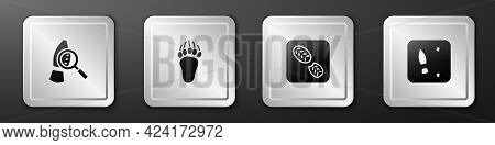 Set Magnifying Glass With Footsteps, Bear Paw Footprint, Human Footprints Shoes And Icon. Silver Squ