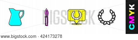 Set Bottle Of Olive Oil, Medieval Spear, Laurel Wreath And Icon. Vector