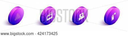 Set Isometric Paint Spray Can, Paint, Gouache, Jar, Dye, Spray Nozzle Cap And Icon. Vector