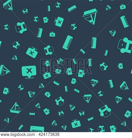 Set Air Conditioner, Yacht Sailboat, Speech Bubble With Airplane And Armchair On Seamless Pattern. V