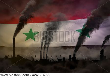 Heavy Smoke Of Factory Pipes On Syrian Arab Republic Flag - Global Warming Concept, Background With