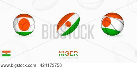Sports Icons For Football, Rugby And Basketball With The Flag Of Niger. Vector Icon Set On A Sports