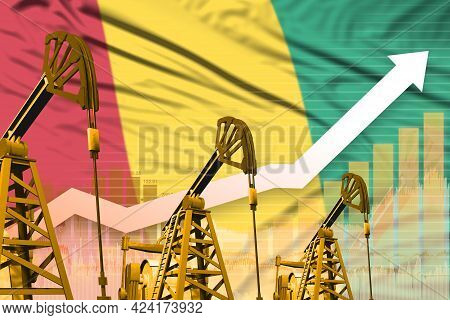 Guinea Oil Industry Concept, Industrial Illustration - Rising Up Chart On Guinea Flag Background. 3d