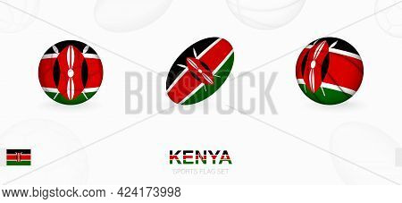 Sports Icons For Football, Rugby And Basketball With The Flag Of Kenya. Vector Icon Set On A Sports