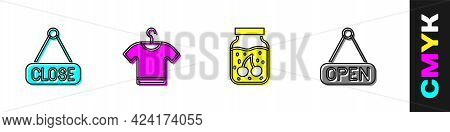 Set Hanging Sign With Closed, T-shirt, Jam Jar And Open Icon. Vector