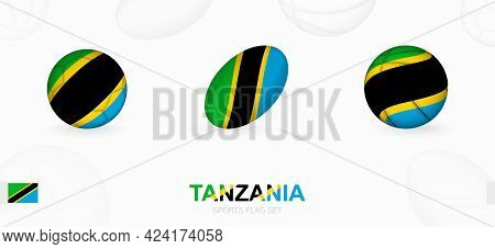 Sports Icons For Football, Rugby And Basketball With The Flag Of Tanzania. Vector Icon Set On A Spor