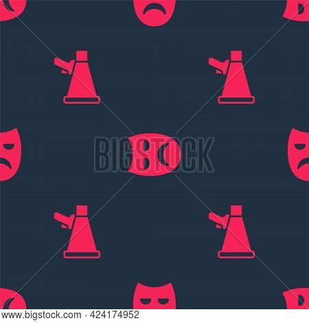 Set Megaphone And Drama Theatrical Mask On Seamless Pattern. Vector