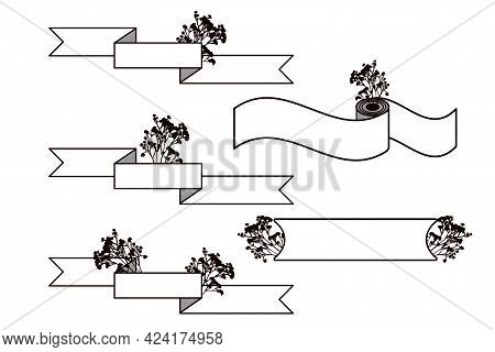 Set Of Horizontal Ribbon And Rectangular Banners With Silhouettes Of Flowers.