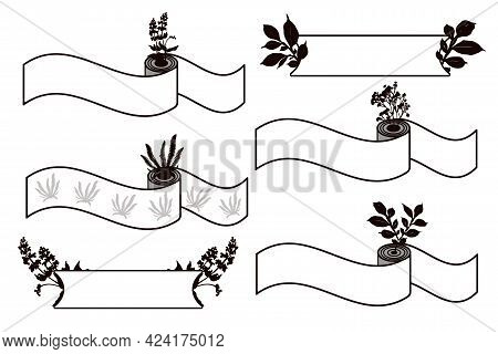 Set Of Horizontal Twisted Ribbon Banners With Silhouettes Of Bouquets Of Flowers And Leaves.