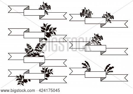 Set Of Horizontal Ribbon Banners With Silhouettes Of Bouquets Of Flowers.
