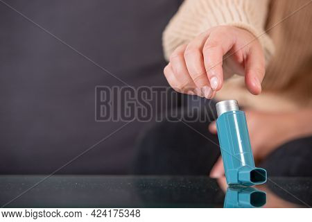 Young Woman Looking For An Asthma Inhaler During Strong Asthma Attack, Cannot Breathing, Healthcare