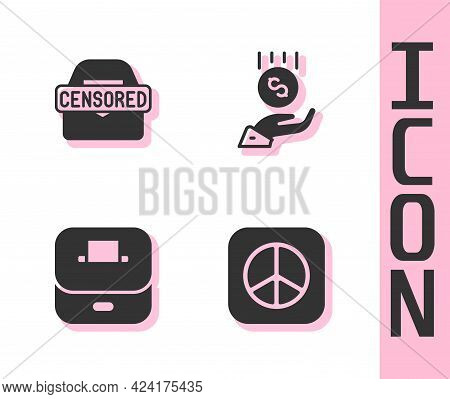 Set Peace, Censored Stamp, Vote Box And Coins On Hand - Minimal Wage Icon. Vector