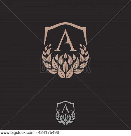 Initial A Letter With Shield And Leaf Ornament For Your Best Business Symbol. Vector Illustration Ep