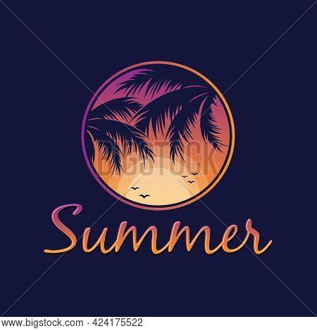Letter Summer With Leaf Of Palm Tree. Vector Illustration Eps.8 Eps.10