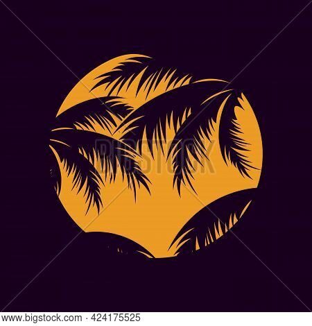 Illustration Of Sun With Leaf Of Palm Tree In Silhouette Style. Vector Illustration Eps.8 Eps.10