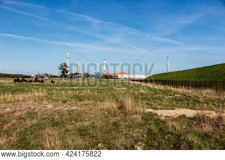 Zinc And Lead Smelter In Miasteczko Slaskie In Poland With Three Chimneys